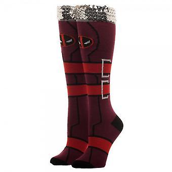Joelho meias altas-Marvel-Deadpool sequin manguito novo licenciado no5k9ymvu