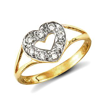 Jewelco London Girls Solid 9ct Yellow Gold White Round Brilliant Cubic Zirconia Love Heart Split Shoulders Baby Ring