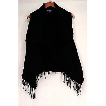 Kate & Mallory Sweater Sleeveless Fringe Hem Black Womens A426983
