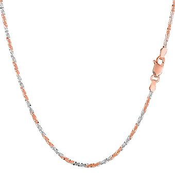 14k 2 Tone Rose And White Gold Sparkle Chain Necklace, 1.5mm