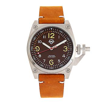 Shield Pascal Leather-Band Men's Diver Watch - Camel/Brown
