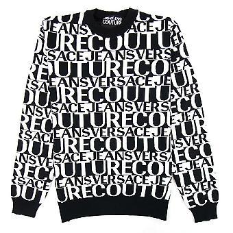 Versace jeans Couture front Print Crew hals Letter Jumper svart/vit