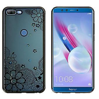 Huawei Honor 9 Lite Mål Blommor Svart - Backcover Clear Bumper Look