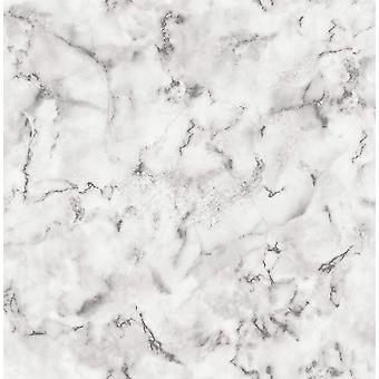 3D Marble Effect Wallpaper White Grey Paste The Wall Fine Decor Notting Hill