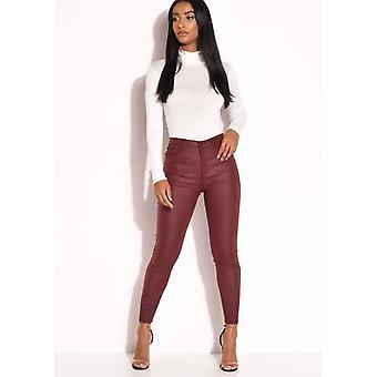 PU falso cuero de alta cintura estiramiento delgado Jeans Borgoña rojo