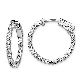 925 Sterling Silver Polished Hinged hoop Safety clasp Rhodium plated Rhodium Plated Cubic Zirconia In and Out Hoop Earri
