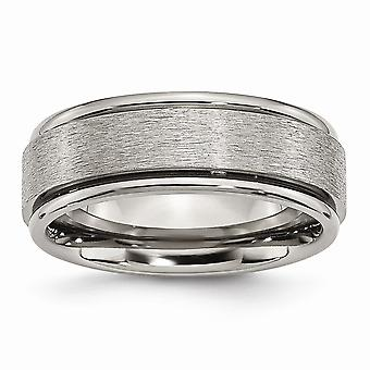Titanium Engravable Poli et satin Grooved Edge 8mm Satin Polished Band Ring Jewelry Gifts for Women - Ring Size: 7