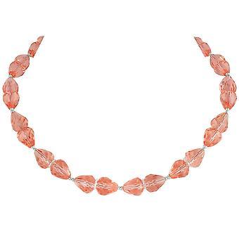 Eternal Collection raffinement Rose rosa krystall sølv tone halskjede