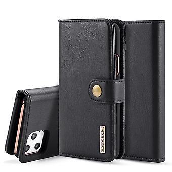 Dg. MING iPhone 11 Pro Max Split Leather wallet Case-Black
