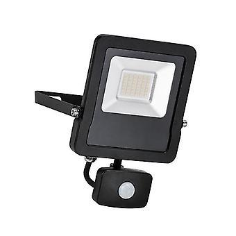 Saxby Lighting Surge Pir Integrated LED PIR Outdoor Wall Flood Light Matt Black, Glass IP44 78967