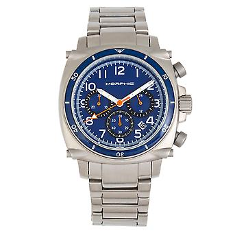 Morphic M83 Series Chronograph Bracelet Watch w/ Date - Silver/Blue
