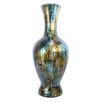 """8.25"""" X 8.25"""" X 20"""" ターコイズ銅とブロンズセラミック箔付けと漆塗りの花瓶"""