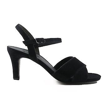 Paul Green 7193-02 Navy Suede läder Womens Heeled Strapy sandaler