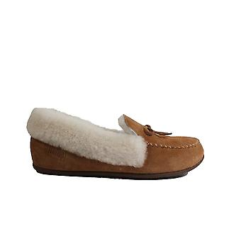 Fitflop Clara Shearling Tan Suede Cuir Femme Moccasin Full Shoe Slippers