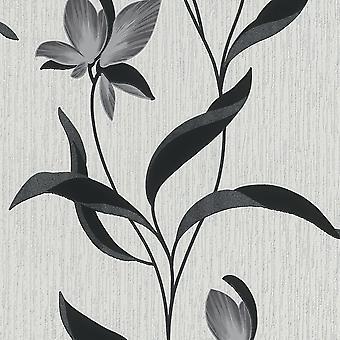 Black Glitter Flower Wallpaper Erismann Blown Vinyl Textured