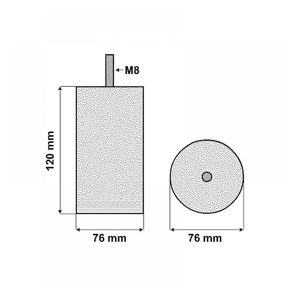 Gris Meubles ronds Jambe 12 cm (M8)