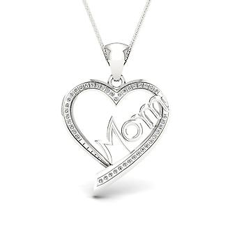 Igi certified s925 sterling silver 0.13ct tdw diamond mom-heart necklace