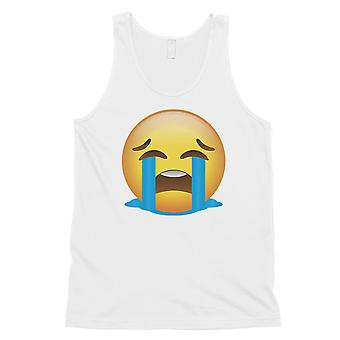 Emoji-Crying Mens White Funny Thoughtful Halloween Costume Tank Top