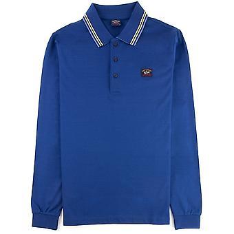 Paul and Shark Paul And Shark Tipped Longsleeve Polo Shirt Blue
