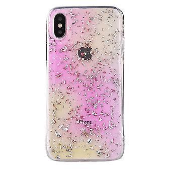 Voor iPhone XS Max Case Roze, Gele Gradiënt Folie Patroon Shockproof Shell Cover