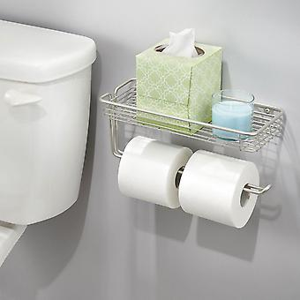 Taylor & Brown Wall Mounted Double Toilet Paper Roll Holder Bathroom Organiser with Shelf