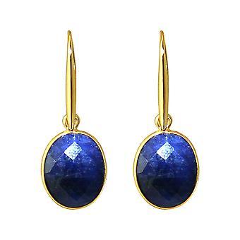 Brincos de gema OVAL blue sapphire gemstones 925 prata ou ouro precioso banhado