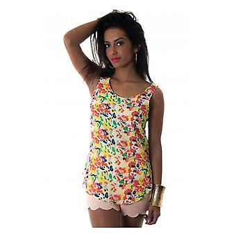 Oversized Orange Floral Vest Top