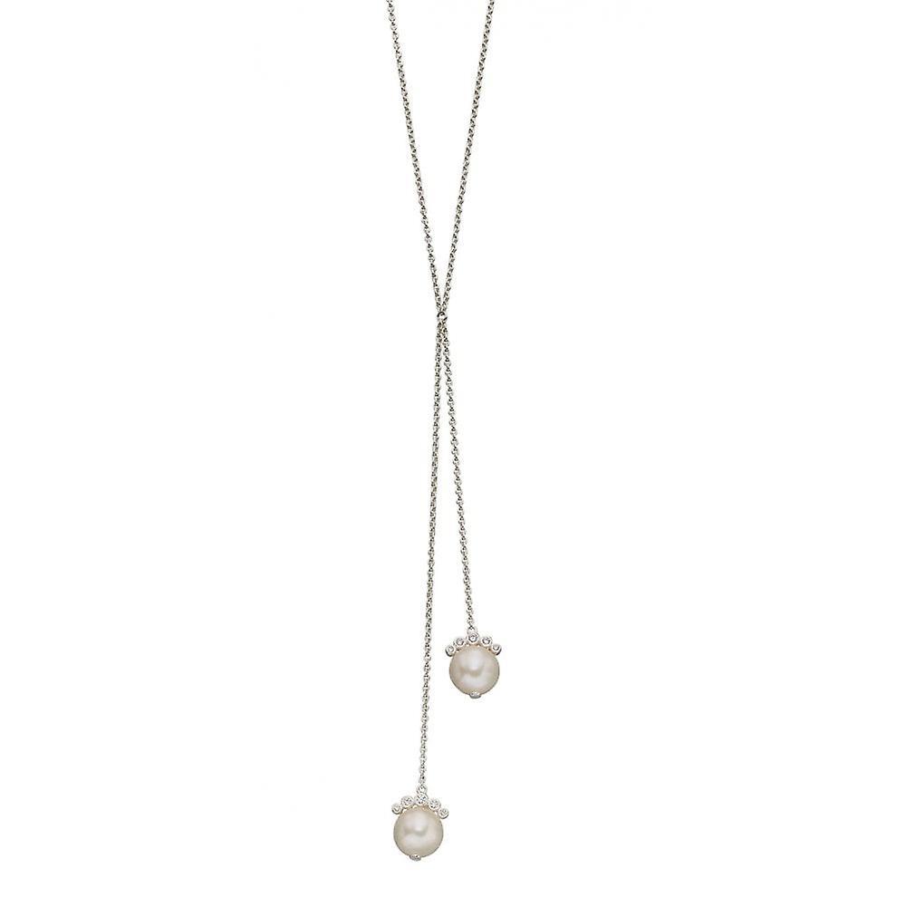 Joshua James Allure Silver & Cz Drop Pearl Necklace