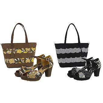 Ruby Shoo Women's Olive Xanthe Peeptoe Chunky Sandal & Matching Mijas Bag  UK 2