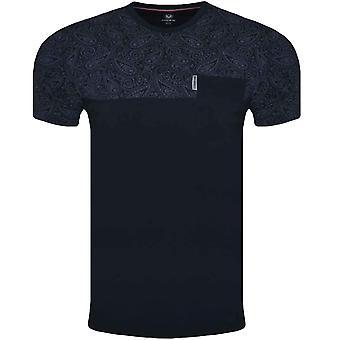 Lambretta Mens Paisley Panel Cotton Short Sleeve Casual T-Shirt Top Tee - Navy