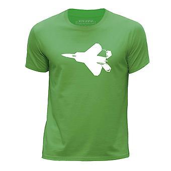 STUFF4 Boy's wokół szyi koszulka T-shirty/Fighter Jet samolot / f-22 Raptor zielony