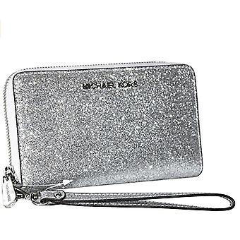 Michael kors jet set travel phone wallet wristlet silver glitter