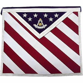 Hand embroidered u.s past master masonic apron