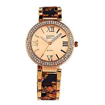 Eton Womens Rose Gold Tone/Black Floral Print Bracelet, Fashion Watch - 3190J-BK