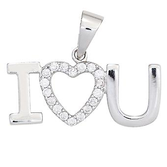 Ladies pendant heart / I love you 925 sterling silver rhodium-plated with cubic zirconia