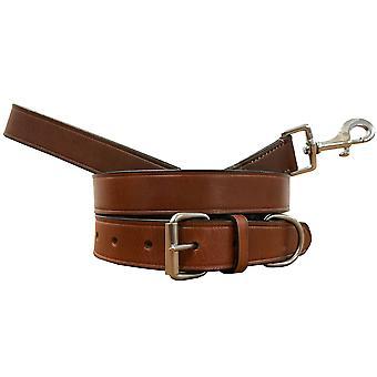 Bradley crompton véritable cuir correspondant collier de chien paire et ensemble de plomb bcdc2tanbrown