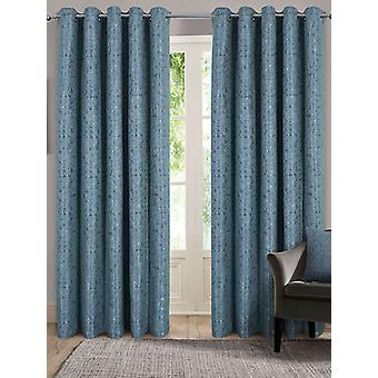 Belle Maison Lined Eyelet Curtains, Nova Range, 46x54 Duck Egg