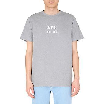 A.p.c. Codeuh26909plagrischine Men''s Grey Cotton T-shirt