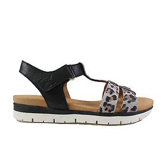 Caprice 28605 Black/Leopard Print Leather Womens T Bar Sandals