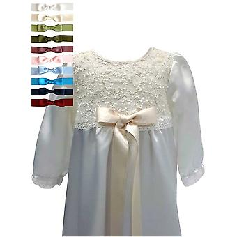 Baptism Gown With Long Sleeve And Lace Body. 10 Choices Of  Bow - Grace Of Sweden