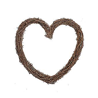 Single 30cm Rustic Wooden Heart Wreath for Weddings and Floristry