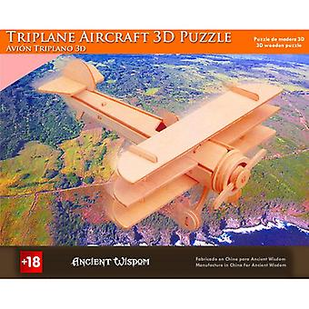 Triplane Aircraft - 3D Wooden Puzzle