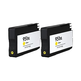 RudyTwos 2x Replacement for HP 951XL Ink Unit Yellow Compatible with Officejet Pro 8600, 8600+, 8100, 8610, 8620, 8630, 8640, 8660, 251dw, 276dw
