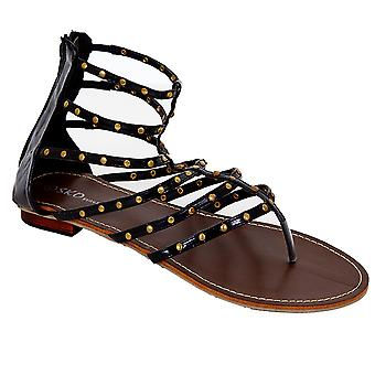 Ladies Thin Straps Gold Studded Patent Women's Casual Gladiator Sandals Shoes