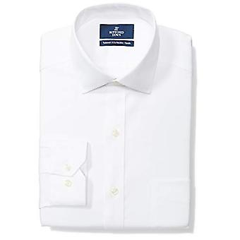 """BUTTONED DOWN Men's Tailored Fit Spread-Collar Solid Non-Iron Dress Shirt (Pocket), White, 15.5"""" Neck 36"""" Sleeve"""