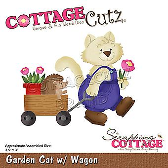Scrapping Cottage Garden Cat with Wagon