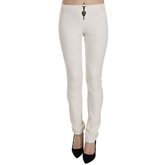 White Mid Waist Skinny Dress Trousers Pants -- PAN7348016