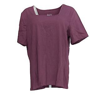 Denim & Co. Women's Top Essentials Short Sleeve Square Neck Purple A236481