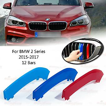 BMW 2-serie 2015-2017 12 bars Clip In Grill M Power Kidney Stripes Cover