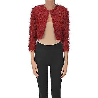 Nualy Ezgl537010 Women's Red Polyester Cardigan